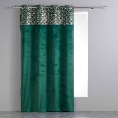 rideau imprime velours graphigold 140x240cm vert