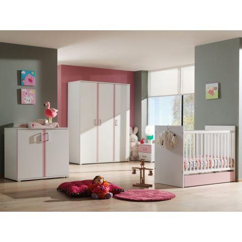 chambre complete bebe 5p valentine blanc rose