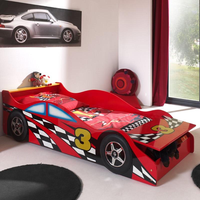 lit enfant voiture race rouge