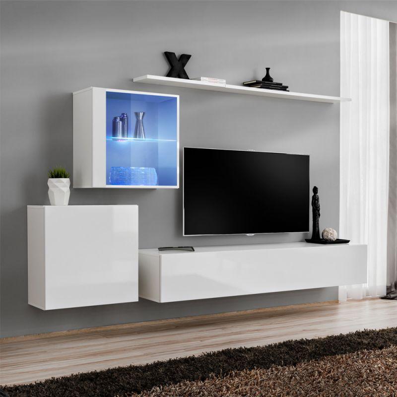 meuble tv mural design switch xv 250cm blanc