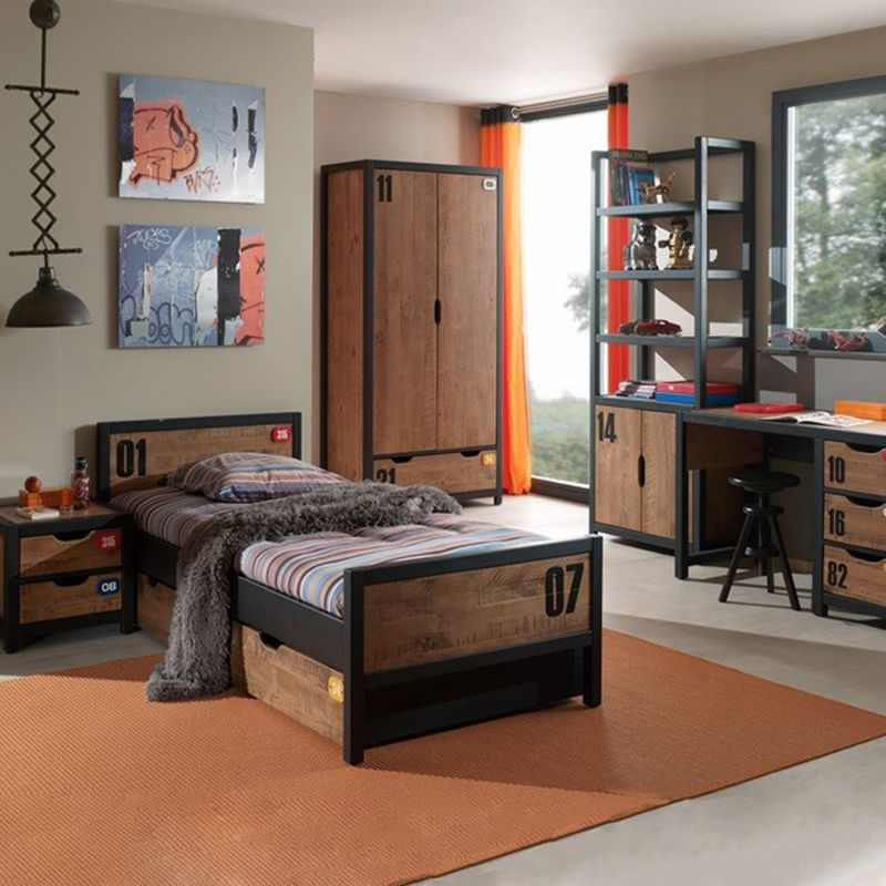 chambre complete enfant 5p alex marron noir