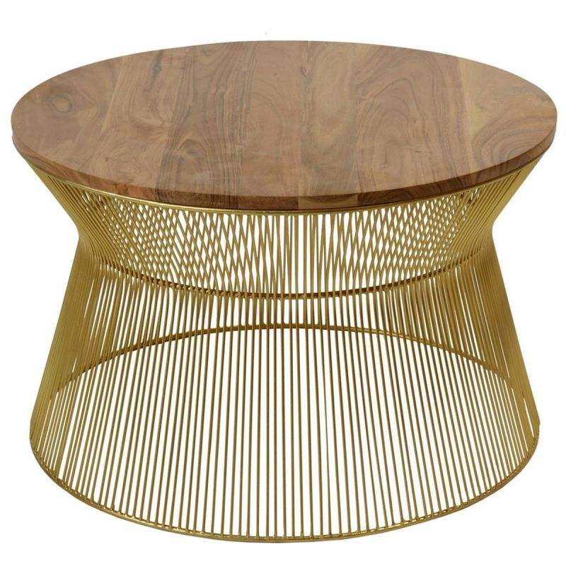 table basse ronde bois metal daisy 66cm or
