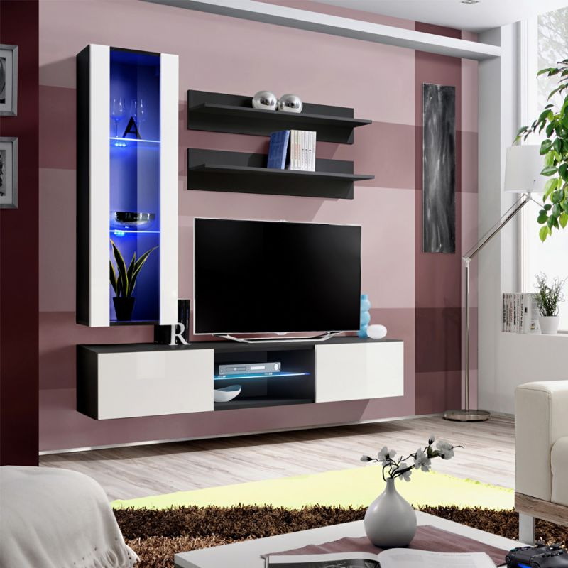 meuble tv mural design fly xix 170cm blanc noir