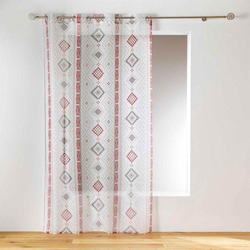 rideau voilage a œillets ikadream 140x240cm gris rouge