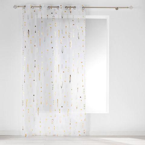 rideau voilage a œillets flechea 140x240cm blanc or