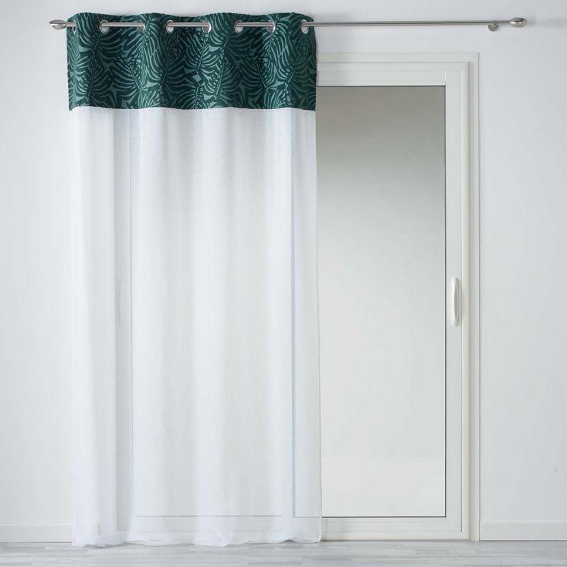rideau voilage a œillets ikaria 140x240cm blanc vert