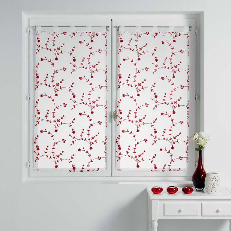 paire de voilages petite fleur 60x120cm blanc rouge