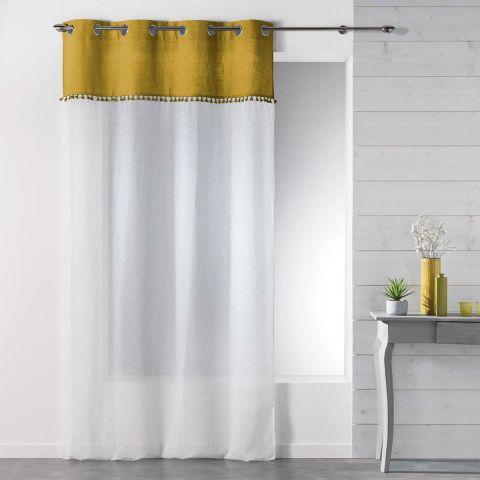 rideau voilage a œillets alixia 140x240cm jaune