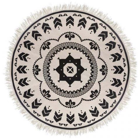 tapis rond deco agadir 120cm noir blanc