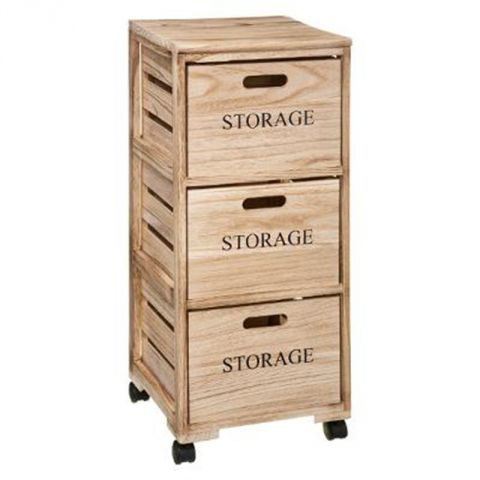 meuble de rangement 3 tiroirs 82cm naturel