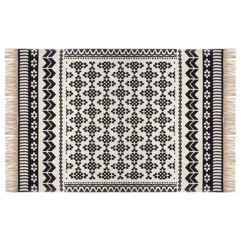tapis deco a franges pailo 120x170cm noir blanc