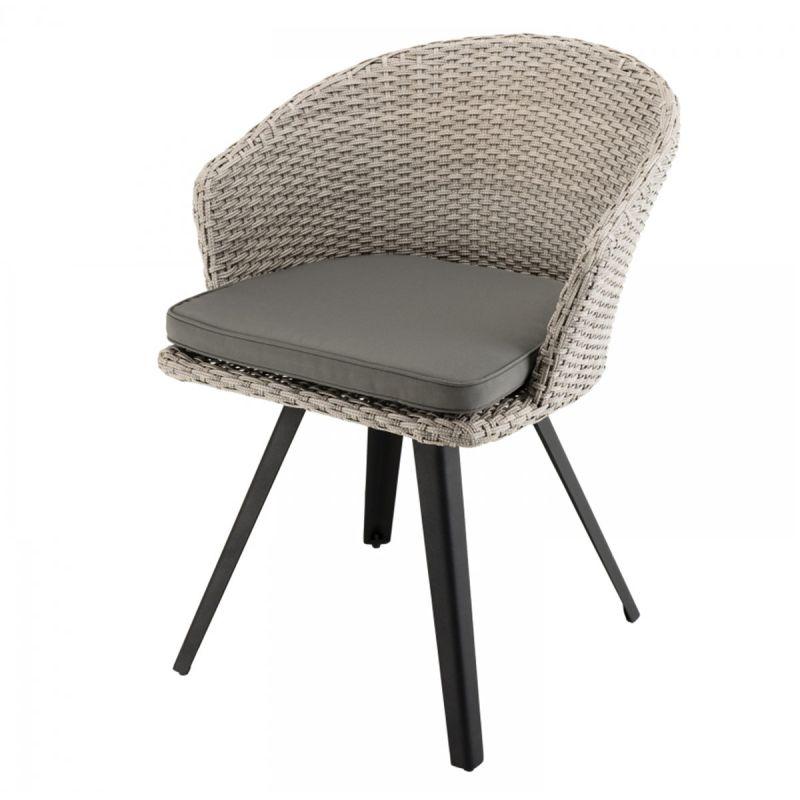 fauteuil en rotin design coussin koni 78cm gris