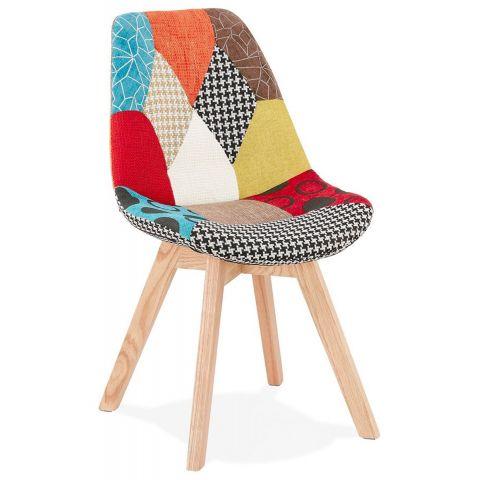 chaise scandinave patchwork aury 82cm multicolore