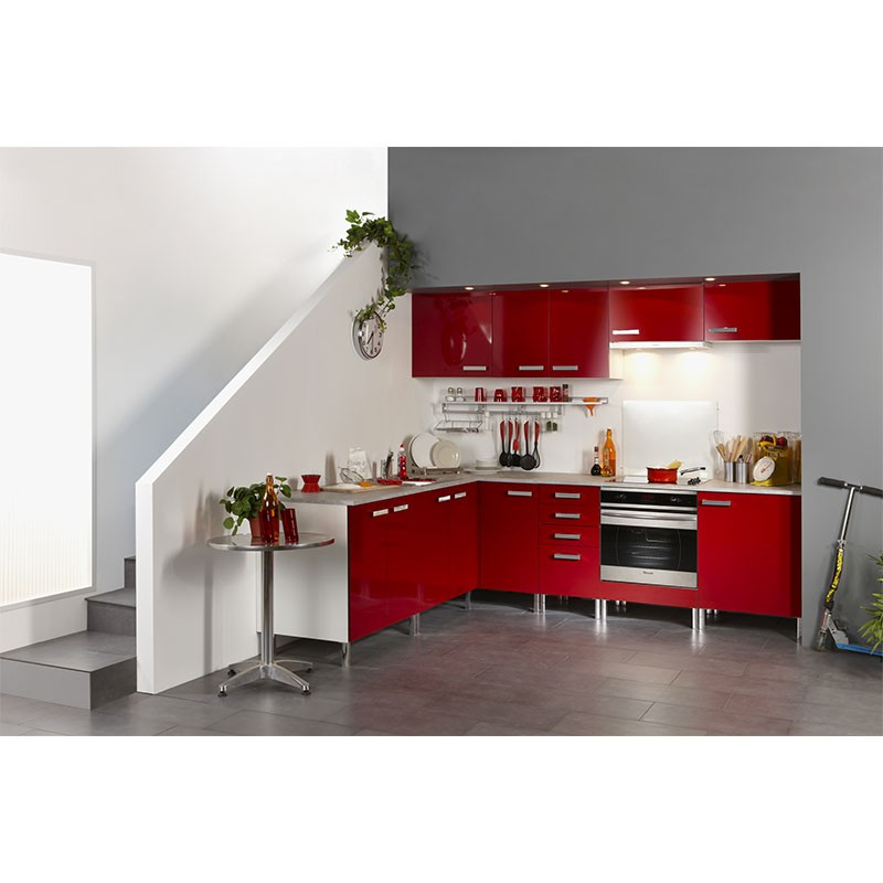 meuble haut d angle 1 porte 60cm glossy rouge