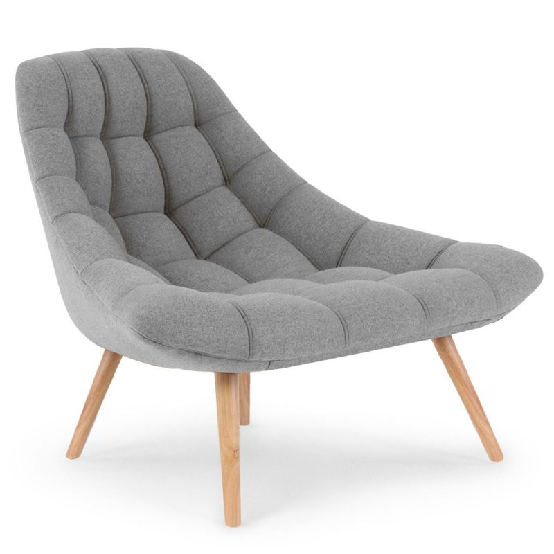 fauteuil scandinave en tissu daloa 102cm gris