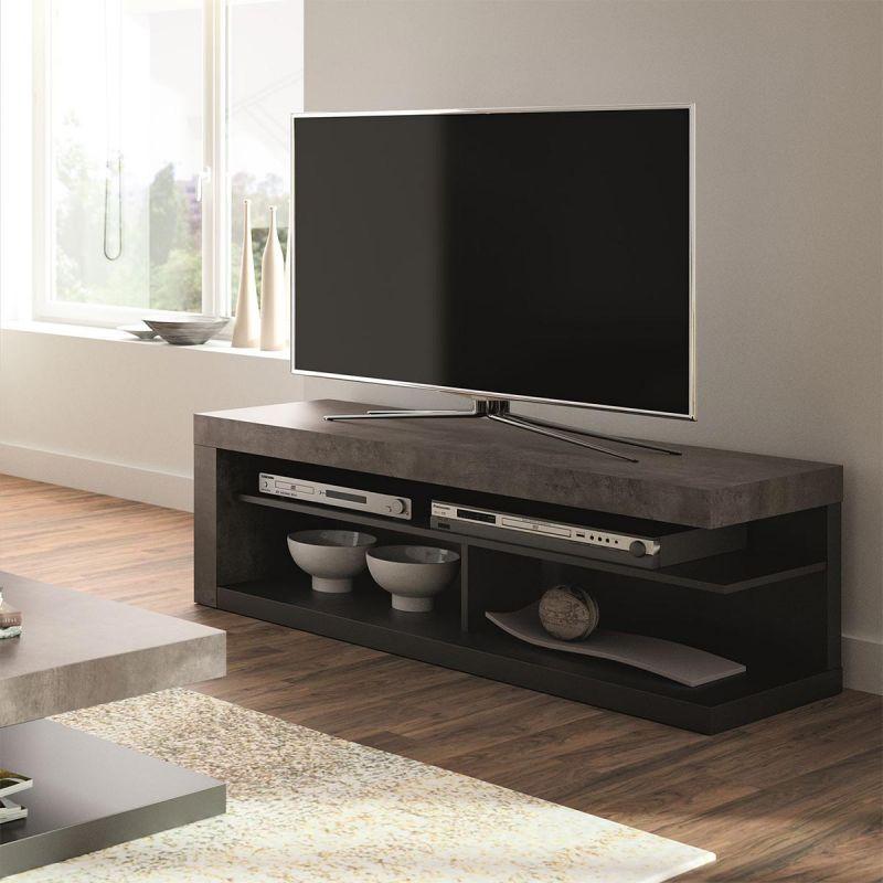 temahome meuble tv design detroit 130cm gris noir
