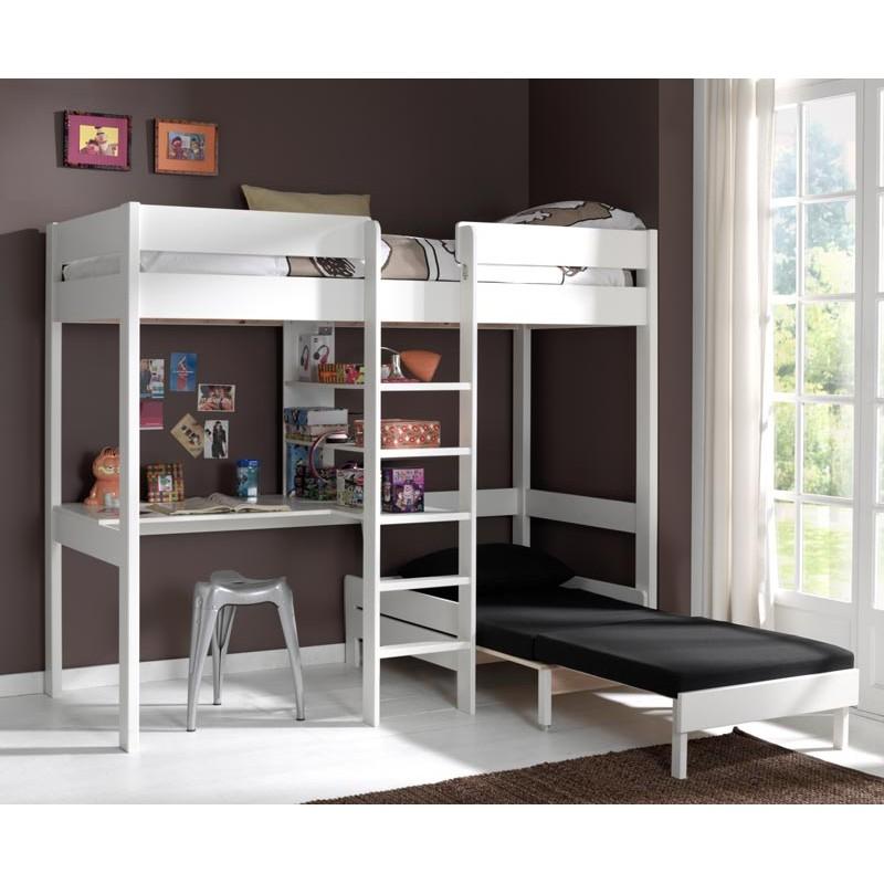 lit mezzanine avec fauteuil pino 90x200cm blanc