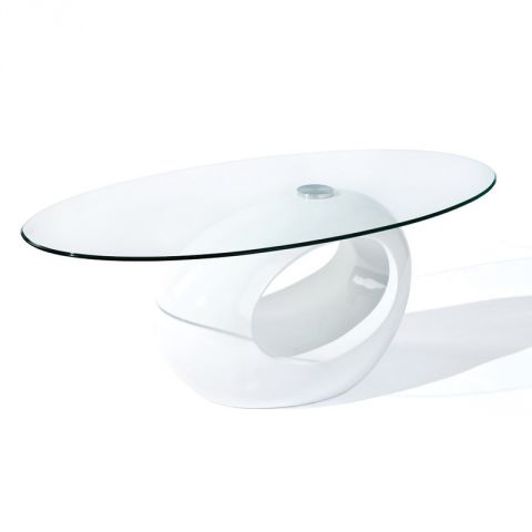 table basse design en verre vicky 110cm blanc