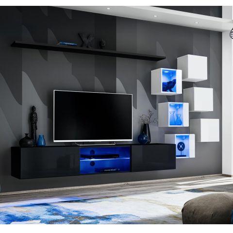 ensemble meuble tv design switch xxi 180cm noir blanc