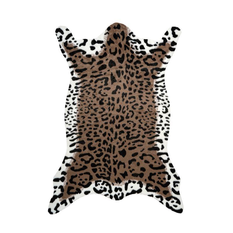tapis imitation peau de leopard desert 160x230cm marron blanc