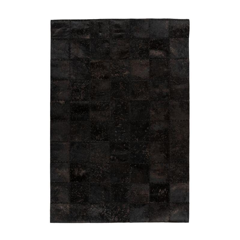 tapis patchwork en cuir fait main voila noir
