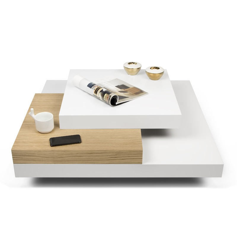 temahome table basse 90cm slate blanc chene