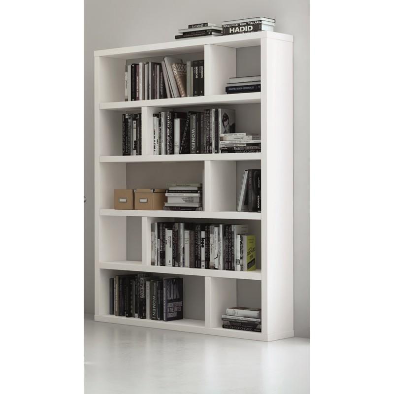 temahome etagere bibliotheque dublin haute blanc mat