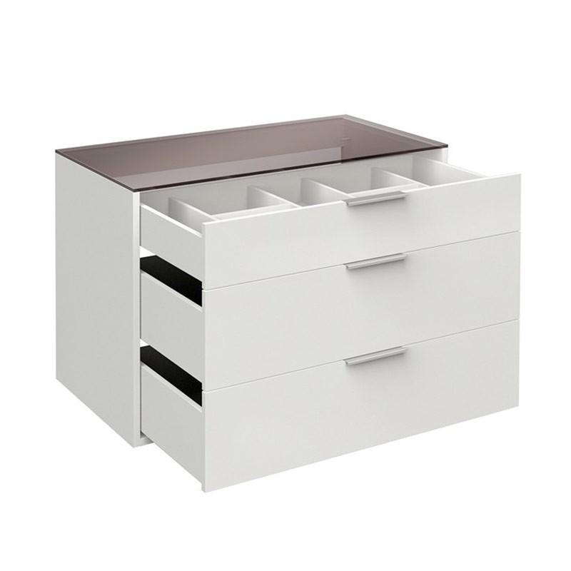bloc 3 tiroirs 100cm avec tablette verre facility blanc