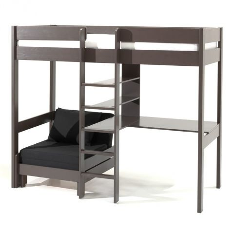 lit mezzanine avec fauteuil pino 90x200cm taupe