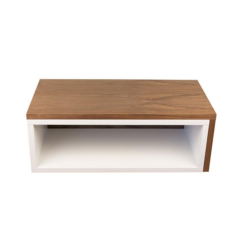 temahome table basse 90cm jazz blanc mat noyer