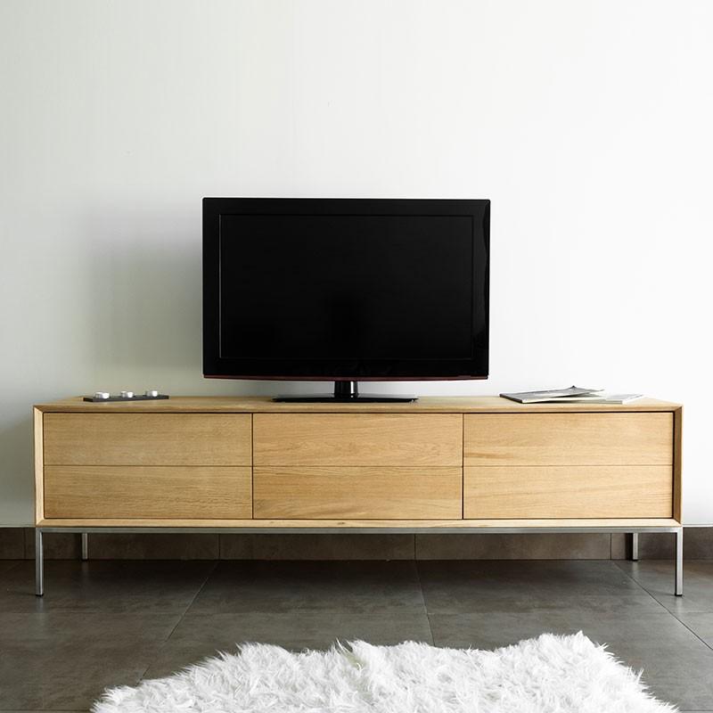meuble tv 2 tiroirs 1 porte kubico chene massif
