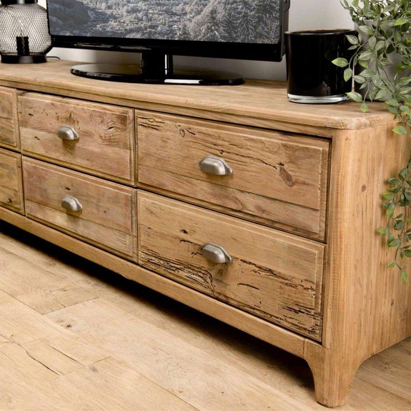 meuble tv 6 tiroirs en bois cramy 180cm naturel