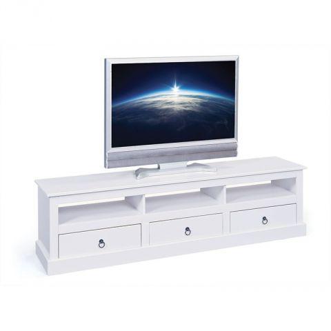 meuble tv en pin massif abigael 173cm blanc