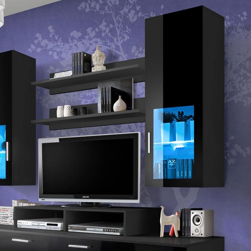 meuble tv mural design mini 200cm noir