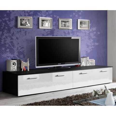 meuble tv design duo 200cm blanc noir