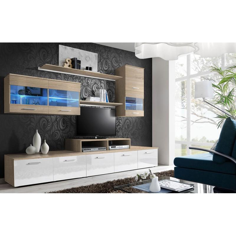 meuble tv mural design logo 250cm blanc chene