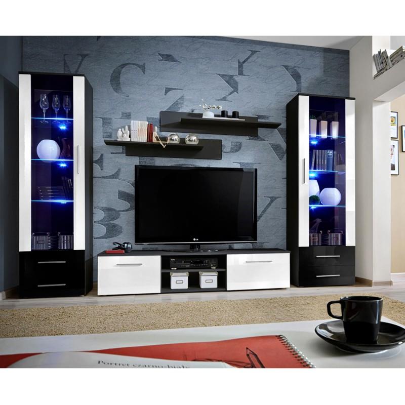 ensemble meuble tv bibliotheque galino iii black blanc noir