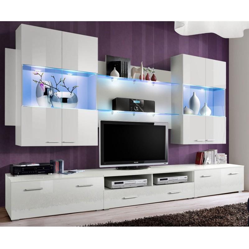 meuble tv mural design space 300cm blanc
