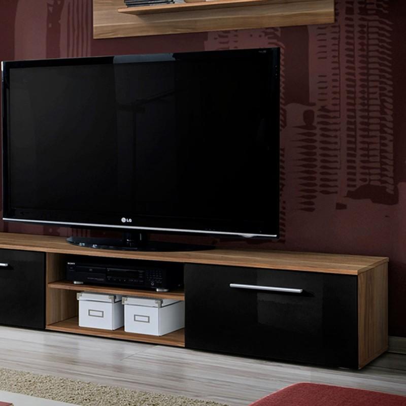 ensemble meuble tv bibliotheque galino i wood 250cm prunier noir