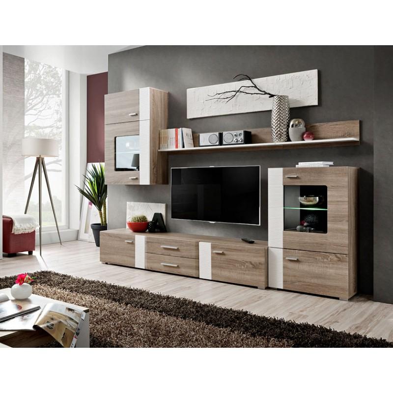 meuble tv mural design aleppo 240cm chene blanc