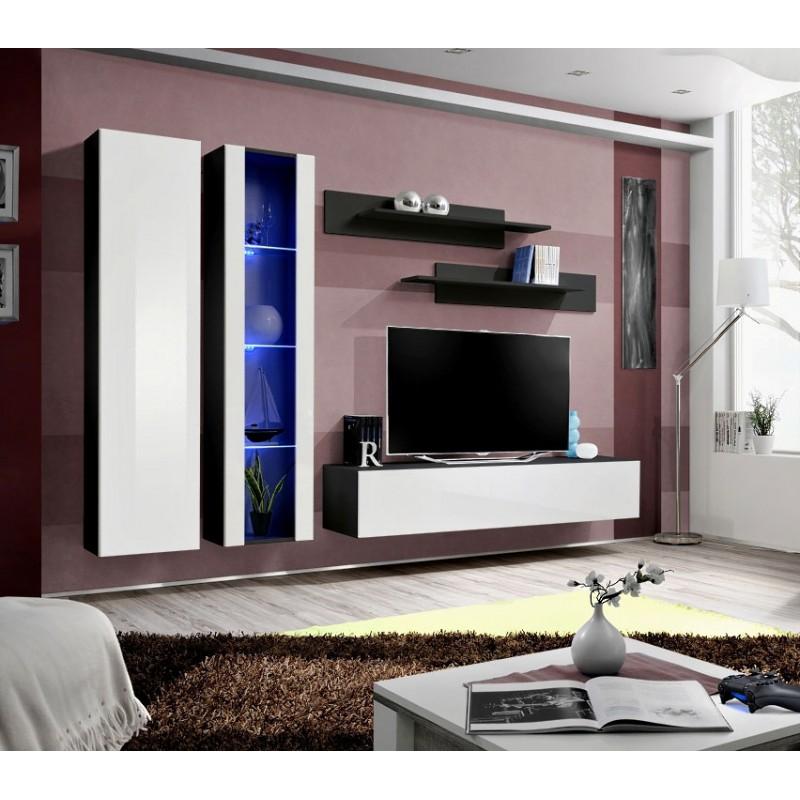 meuble tv mural design fly iv 260cm blanc noir