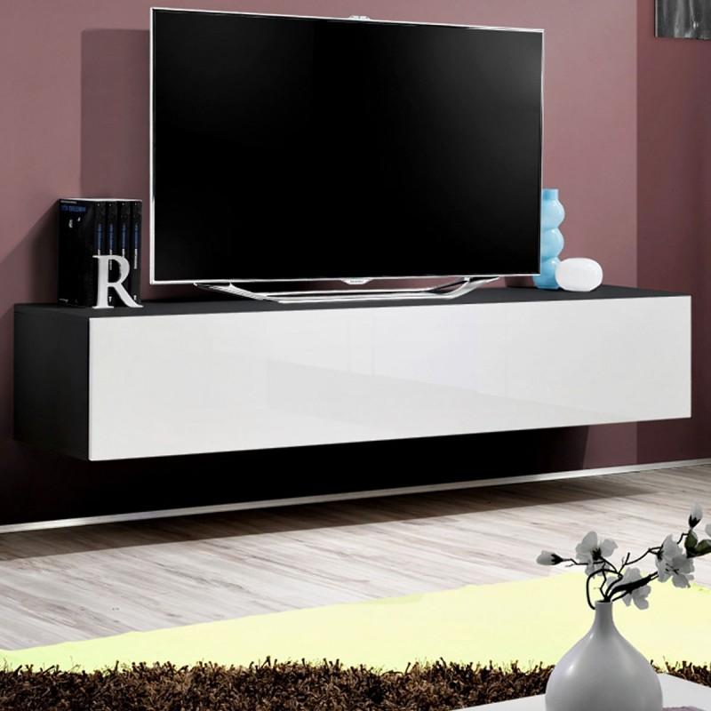 meuble tv mural design fly i 160cm blanc noir