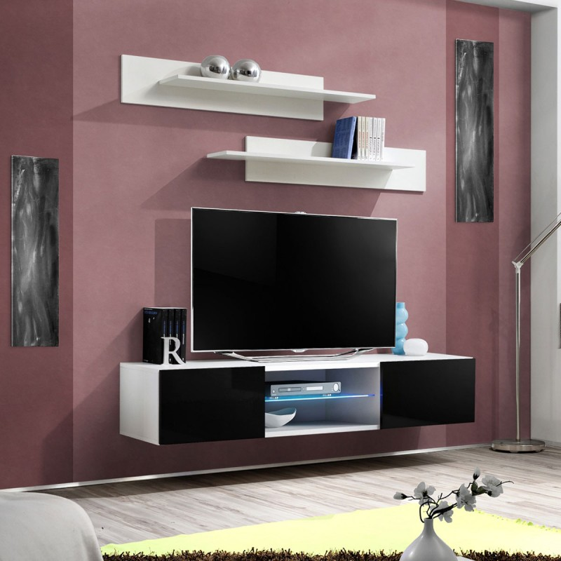 Meuble TV Mural Design Fly III 160cm Noir Amp Blanc
