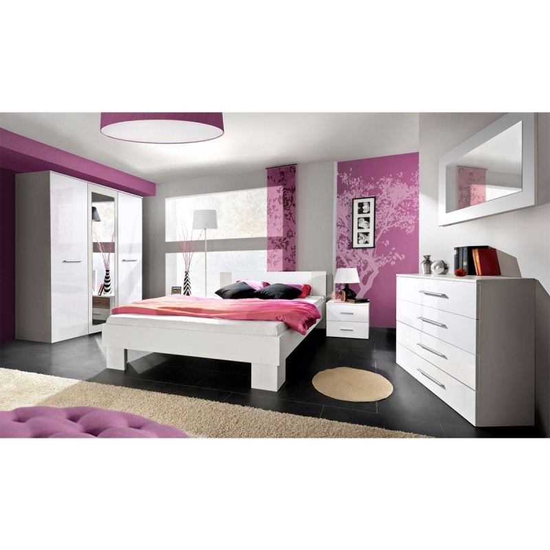 chambre complete adulte 6p vicky 160x200cm blanc