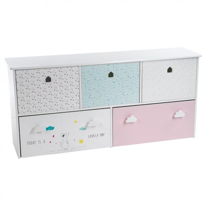 meuble de rangement enfant 5 tiroirs sweety 114cm multicolore