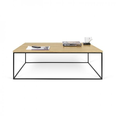 temahome table basse gleam 120cm chene metal noir