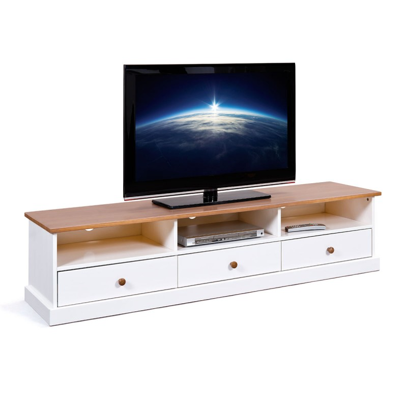 meuble tv bois takao 180cm blanc naturel