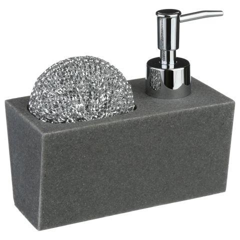 distributeur de savon porte eponge 14cm gris