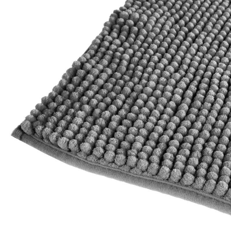 tapis de salle de bain chenille 50x80cm gris