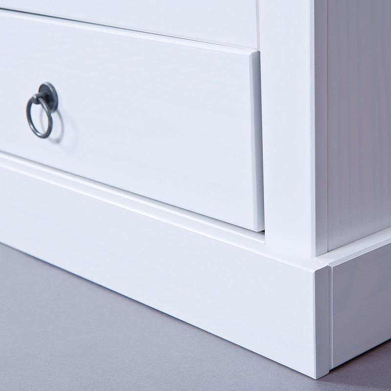 meuble tv en pin massif abigael 118cm blanc